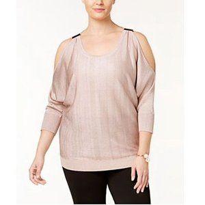 NWT INC Macy's Cold Shoulder Metallic Sweater 2X